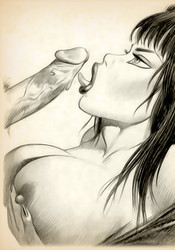 Sexy Vampirella cock sucking!